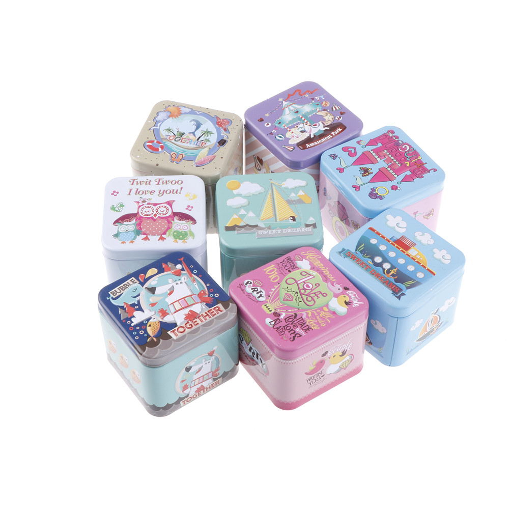 72*72*65mmCartoon Tin Box Biscuit /Tea leaf Child Gift Box Sundries Container Case Metal Customizable Square Exquisite