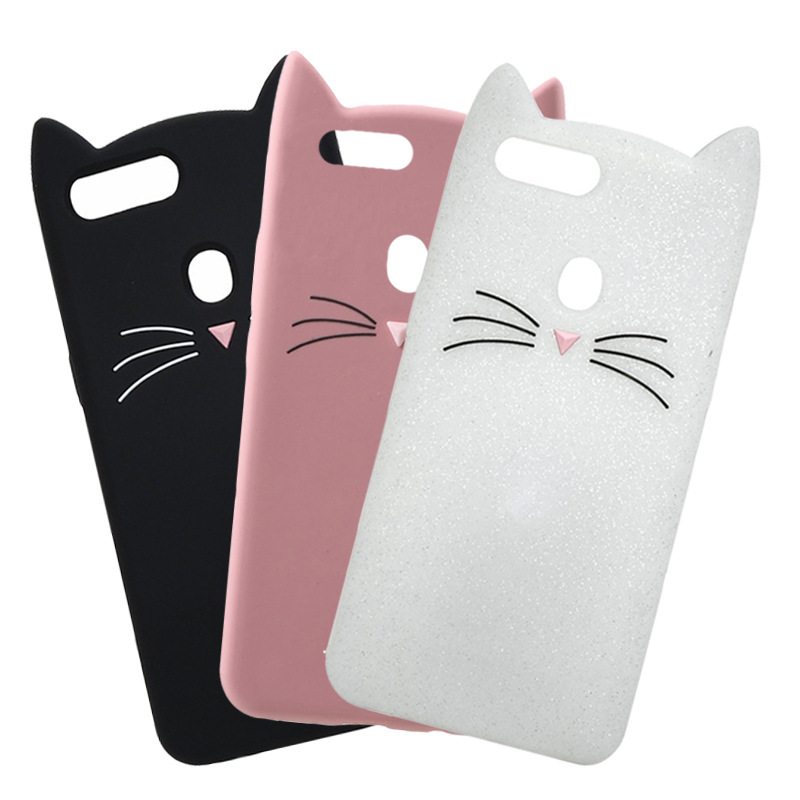 3D Cute Glitter Beard Cat Ears Case For Oppo F9 R17 R9 R9s R11 Plus R7s F1s A59 A53 A57 A39 A37 Cases Full Cover Silicone Fundas