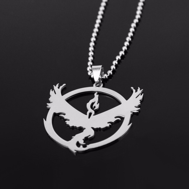 Pokemon Go Necklace Stainless Steel Team Valor Mystic Instinct Logo
