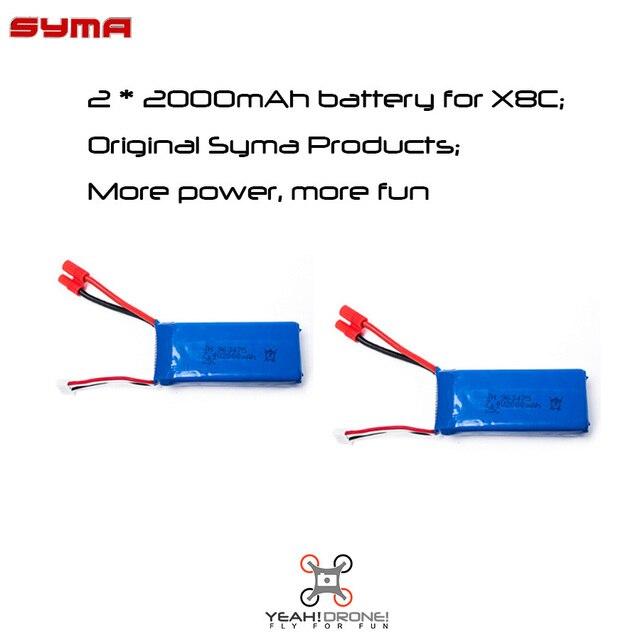 2 ШТ. Оригинал Syma X8C X8G X8W Батареи 7.4 В 2000 мАч 25C Сыма Запчасти Батареи Липо для X8C X8W X8G