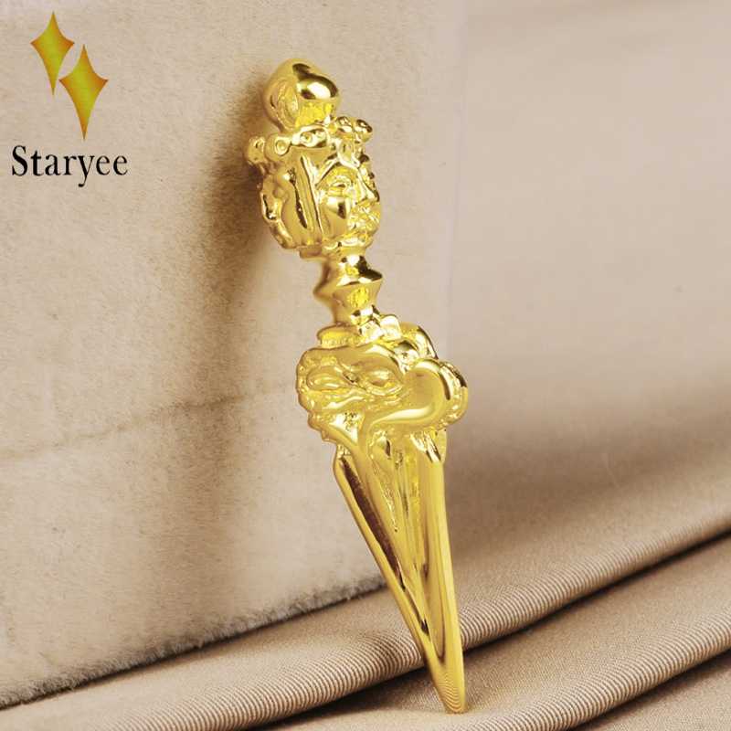 Real 18k Solid Yellow Gold Vajra Enamel Lucky Amulet Buddhism Chain Pendant Necklace For Women Men Gift Free Engraving Dropship harbll ar pendant accessories gold plated double gourd glass beads amulet for safe driving lucky blessing car pendant