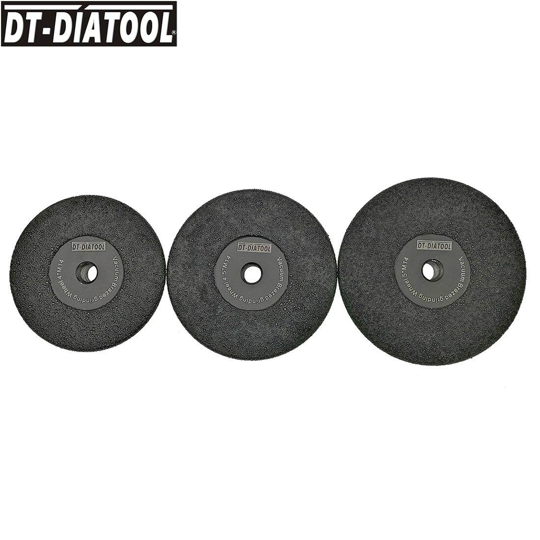 DT-DIATOOL 1piece Vacuum Brazed Diamond Flat Grinding Wheel M14 #30 Diameter 4 Inches/105mm 4.5/115mm 5/125mm Shaping Wheel dia115mm vacuum brazed diamond flat grinding wheel m14 30 40 4 5 shaping wheel cutting disc for marble granite