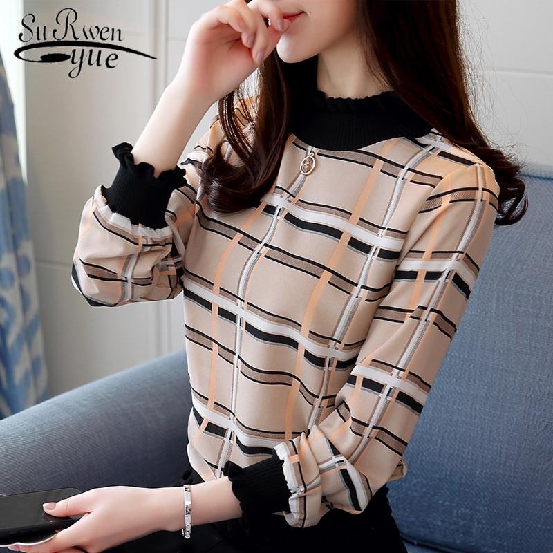 New 2019 Spring Autumn Fashion Casual Striped Plaid Chiffon Women   Blouse     Shirt   Long Sleeve Chiffon Female Tops Blusas 0715 40