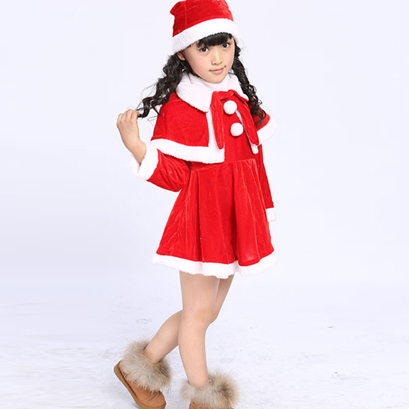 2018 Kids Santa Claus Clothes With Hat Girls Christmas Dress Kids Christmas Party Costumes For Girls And Boys Clothing christmas plush santa claus hat party supplies decoration