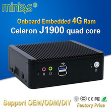 "Minisys Low price mini pc box Onboard embedded 4gb ram with Intel Celeron J1900 support 2.5""HDD 2 lan 4 COM port thin computer"