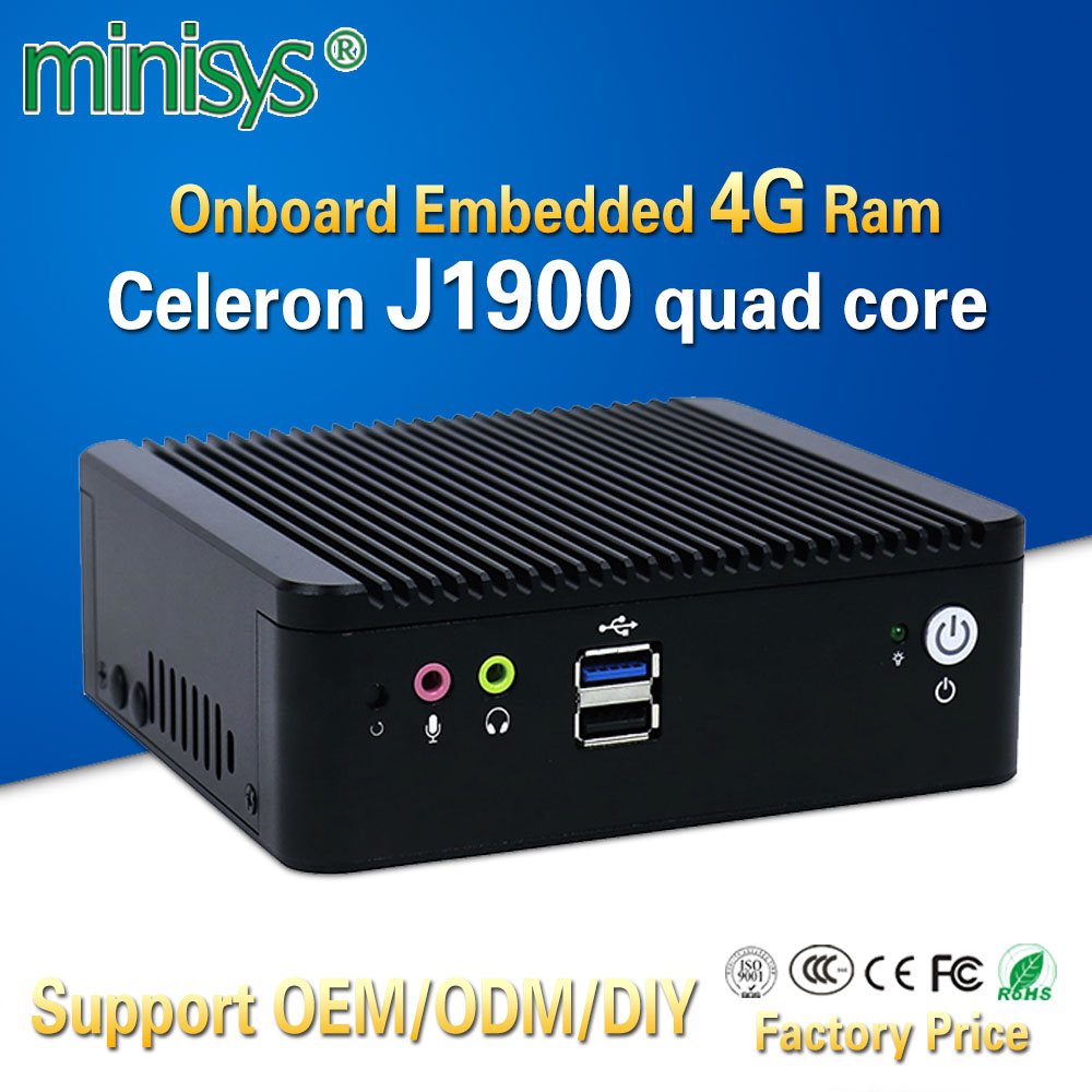 Minisys Low Price Mini Pc Box Onboard Embedded 4gb Ram With Intel Celeron J1900 Support 2.5''HDD 2 Lan 4 COM Port Thin Computer