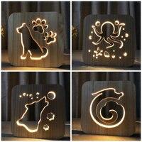 Wood Night Lamp 3D Decor Nightlight Animals Dog Wolf Octopus Dragon Decorative LED Lighting Gift For Bedroom Kid Gift IY801101