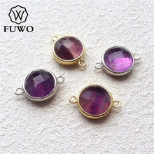 Buy raw amethyst pendant and get free shipping on aliexpress fuwo amethysts connector with brass bezel goldsilver aloadofball Choice Image