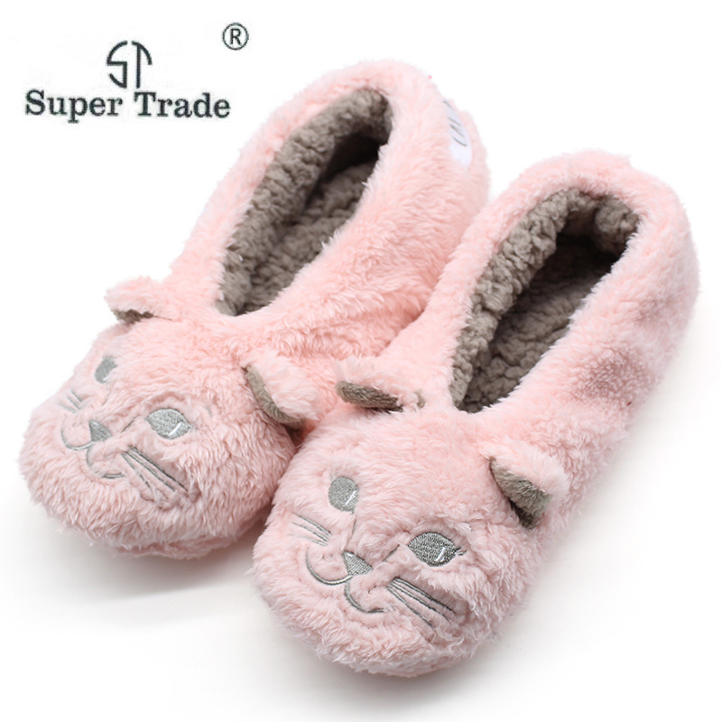 5ed68c25a7a8 ST SUPER TRADE Winter Warm Indoor Slipper Shoes Women Cozy Soft Bottom Non- slip Home