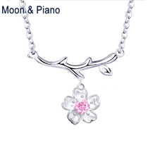 925 Sterling Silver Sakura Necklace Sweet Cherry Blossoms Office Lady Fine Jewelry for Woman Wedding Gift New Arrivals