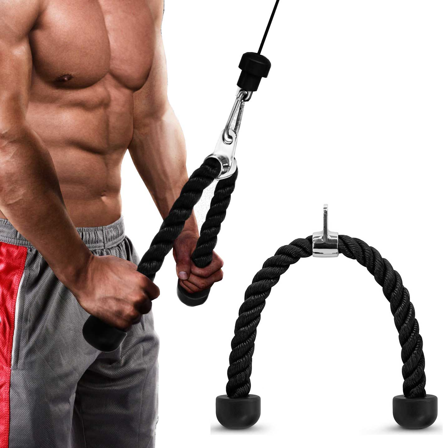 Tricep Rope Fitness Bodybuilding Gym Abdominal Crunches Cable Pull