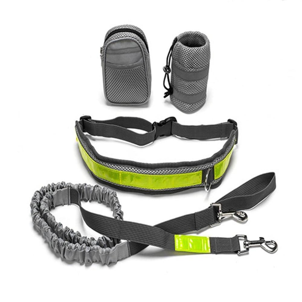 Multifunction Elastic Nylon Belt Running Dog Leash Padded Waist With Reflective Strip + Zipper Bag + Bottle Holder for Dog Cat