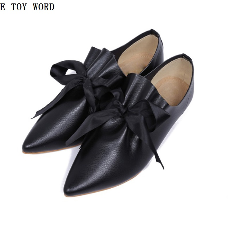 2017 Women's Shoes pointed toe flat-bottomed single shoes female genuine leather fashion big bow plus size 43 spring and summer women shoes pointed toe bow flat shoes patent leather pregnant shoes fashion female small big size