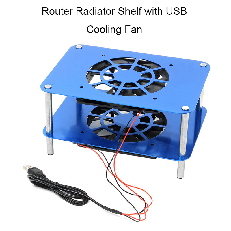 Aluminum TV Box Heatsink Shelf Wireless Router Radiator Silent Quiet Router Cooler Cooling with USB Fan 120x120x20mm Blue 5pcs lot pure copper broken groove memory mos radiator fin raspberry pi chip notebook radiator 14 14 4 0mm copper heatsink