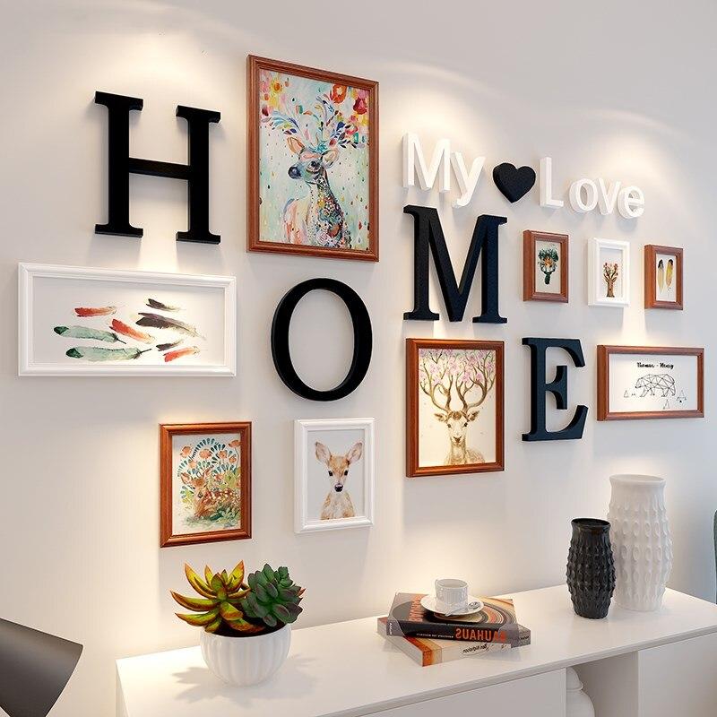 Style nordique 9 pcs/en bois cadre photo accueil lettre pâte décoration murale photo cadre photo de famille photo murale cadre combinaison