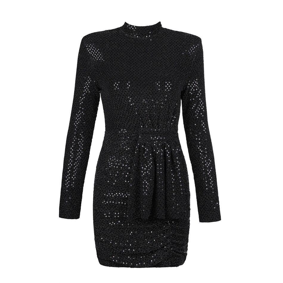 Nouveau Ciemiili 2019 Soirée Femmes De Manches Printemps Robe Noir Profond Longues Parti Col À Sexy Maxi Roulé Black Club Lady gqwtq