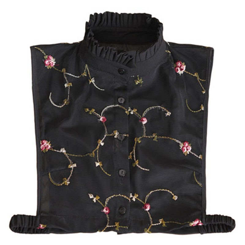 Tie Women Shirts Summer Girls Fake Collars High Neck Floral Embroidery New Design High Quality Popular Beautiful Sexy High-end