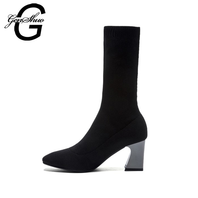GENSHUO 2018 Sexy Shaping Boots Elastic Sock Boots Women Mid Calf Boots Fashion Stretch Women Shoes High Heels Boots For Women