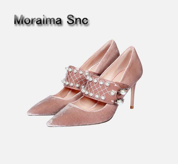 Moraima Snc 2018 newest party shoes women pink blue Velvet pumps pearl decor high heels pumps sexy pointed toe mary janes shoes apoepo brand mary janes shoes pointed toe butterfly knot decor flats shoes women red pink sweet single shoes for girls newest