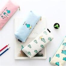 ФОТО cute cactus pencil case forgirls kawaii black white dot pu leather pen bag stationery pouch office school supplies zakka escolar