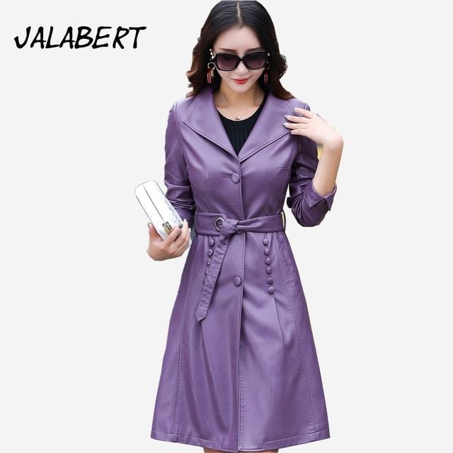 2017 autumn winter new women lapel leather long jacket Windbreaker Female Bow Sashes Slim Solid pu coats