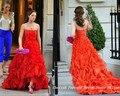 Envío gratis Leighton Meester Blair Waldorf de Gossip Girl sin tirantes trasero largo corto delantero vestido rojo vestido de fiesta vestido de noche CD078