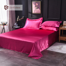 Liv-Esthete 2019 Hot Sale Wholesale Luxury 100% Satin Silk Rose Red 1PCS Flat Sheet Silky Queen King Bed Sheets For Women Men