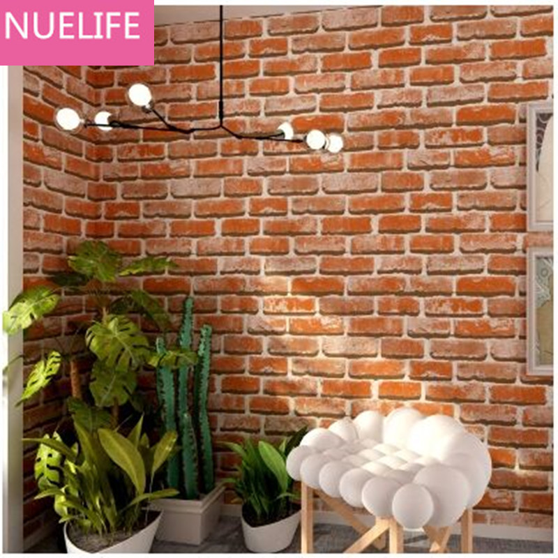 0.53x10m 3D Chinese Brick Pattern Wallpaper TV Walls Living Room Entrance Clothing Store Cafe Hotel Waterproof Wallpapers N4