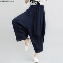 Cotton Linen Pants Women 2016 Newest Casual Loose Harem Wide Leg Bloomers pantalon femme large