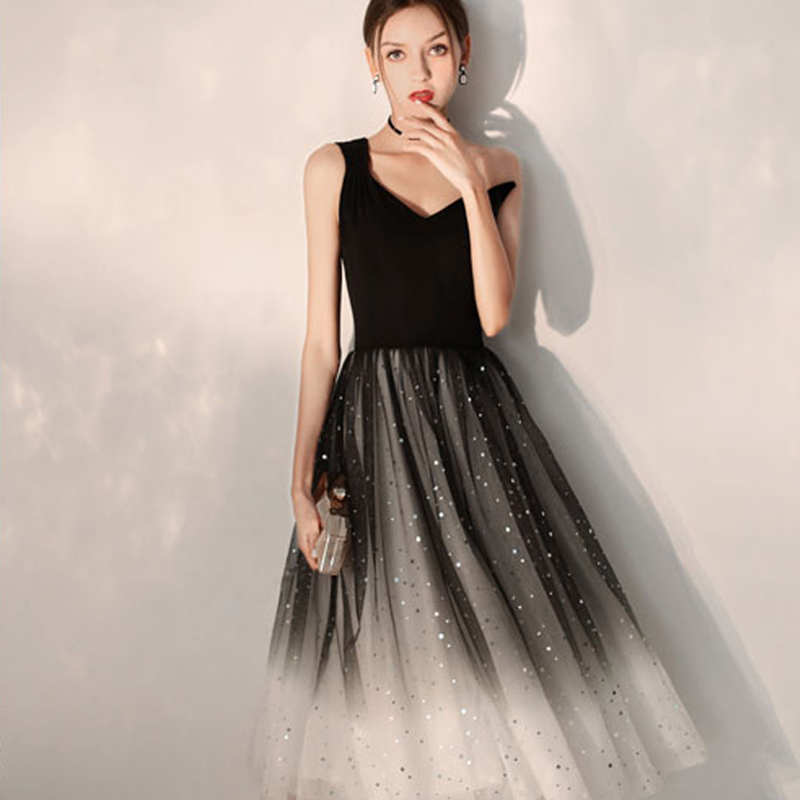 Cocktail Dress Black One Shoulder Pleat Woman Party Dresses 2019 Sleeveless Plus Size Sexy Deep V-neck Robe Cocktail Gowns E707