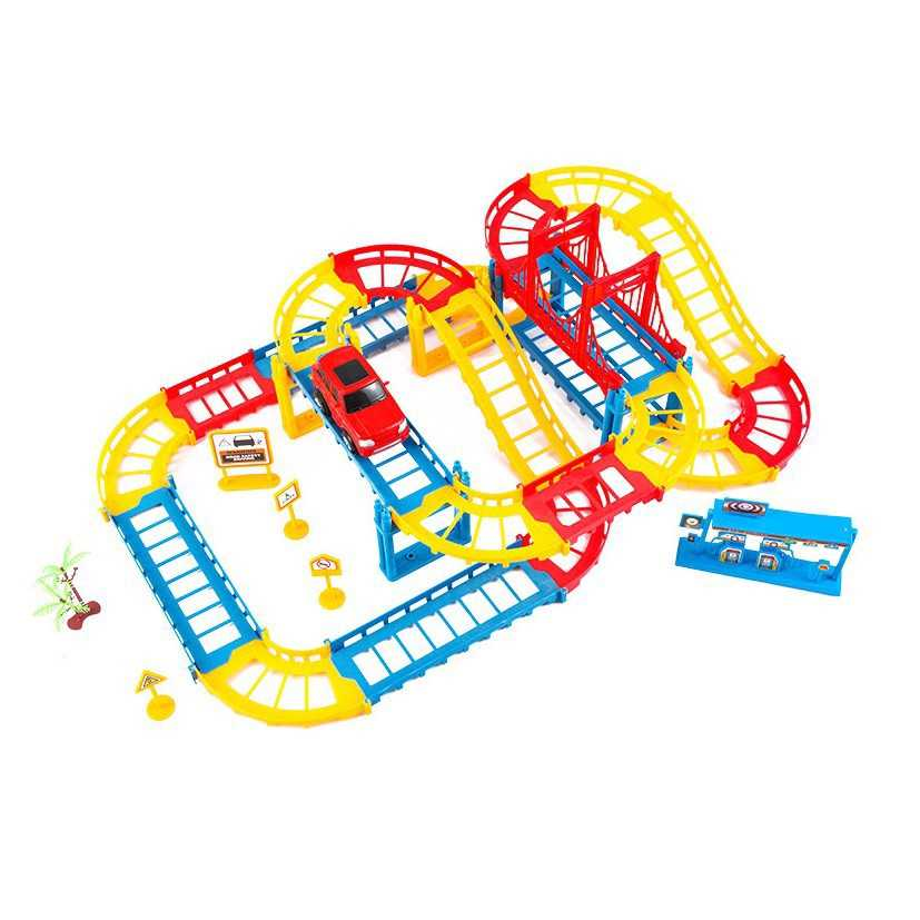 Rail Car Assembly Electric Speed Track Car Educational Toy Combinations Playset Vehicle Puzzle Race Car