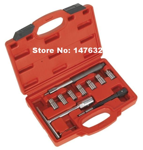 10PCS Automotive Diesel Injector Seat Cutter Cleaner Tool Kit AT2197  цены
