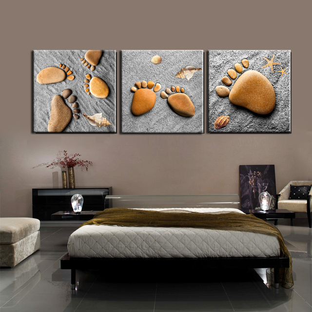 Beach Sands Feet Stones Canvas Art Modern Painting Home Decor Wall Pictures  For Living Room Bedroom
