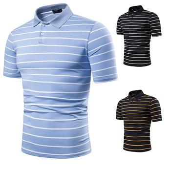 Men's short sleeve polo chest three stripe color matching fashion collocation cross-border lapels men short sleeve POLO 4