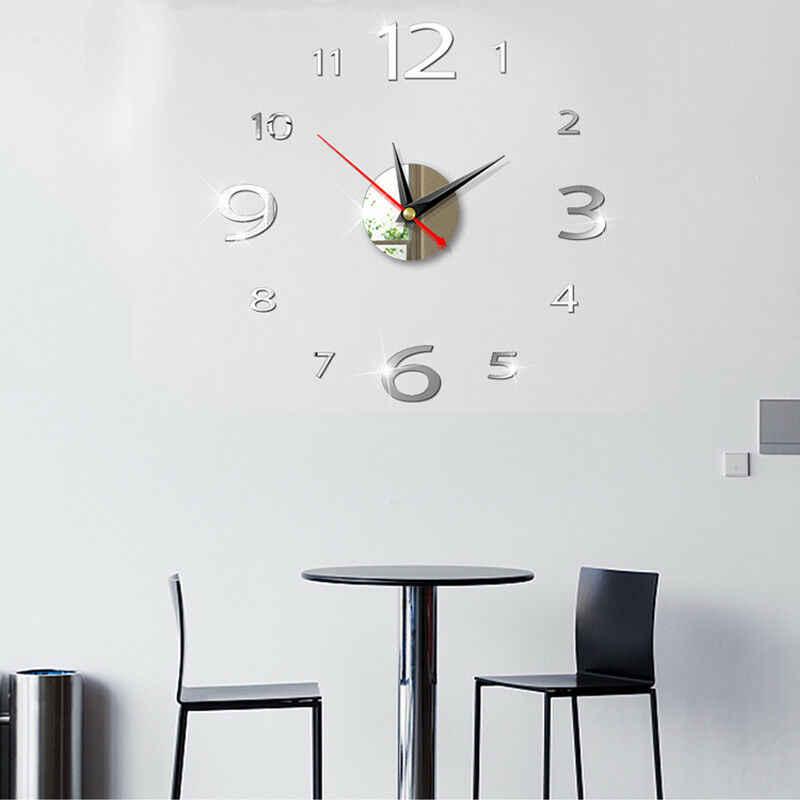الحديث كبير 400 مللي متر ثلاثية الأبعاد مرآة سطح ساعة حائط ثلاثية الأبعاد الجدار ملصق غرفة مكتب المنزل ديكور الحائط ديكور المنزل اكسسوارات الديكور