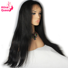 Atina Queen Straight 180 Density 360 Lace Frontal Wig Pre Plucked with Baby Hair Remy Human Natural Hairline for Black Women