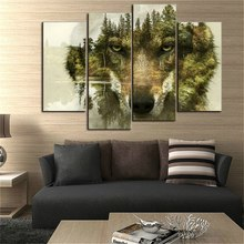 Wolf Pine Trees Forest Water Wolf Animal Print On Canvas 4 Pieces Wall Art Painting The Picture For Home Decoration Drop ship недорго, оригинальная цена