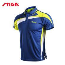 Oryginalny Stiga tenis stołowy Odzież Sportswear szybkie suche Krótki rękaw mężczyźni ping pong shirt Badminton Sport Jersey tanie tanio Mężczyzn Pasuje do rozmiaru Weź swój normalny rozmiar CA-83111