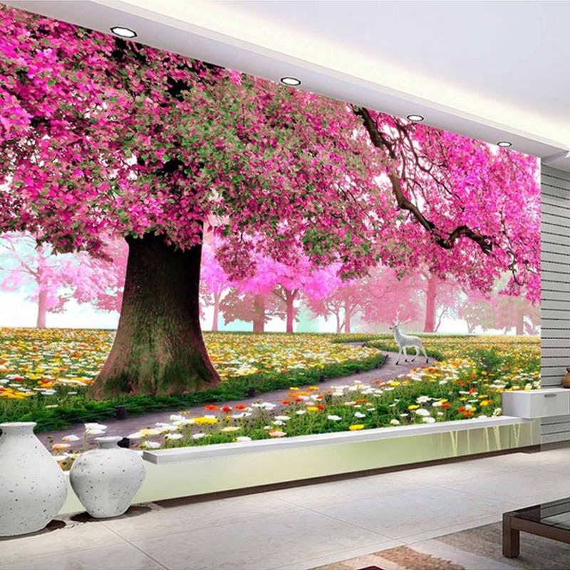 Modern Custom Photo Wallpaper Warm And Romantic Flowers Trees And ...