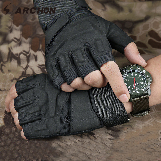 S.ARCHON US Army Tactical Fingerless Gloves Men Anti-Skid Half Finger Military Shooting Mittens Male SWAT Fighting Combat Glove 5