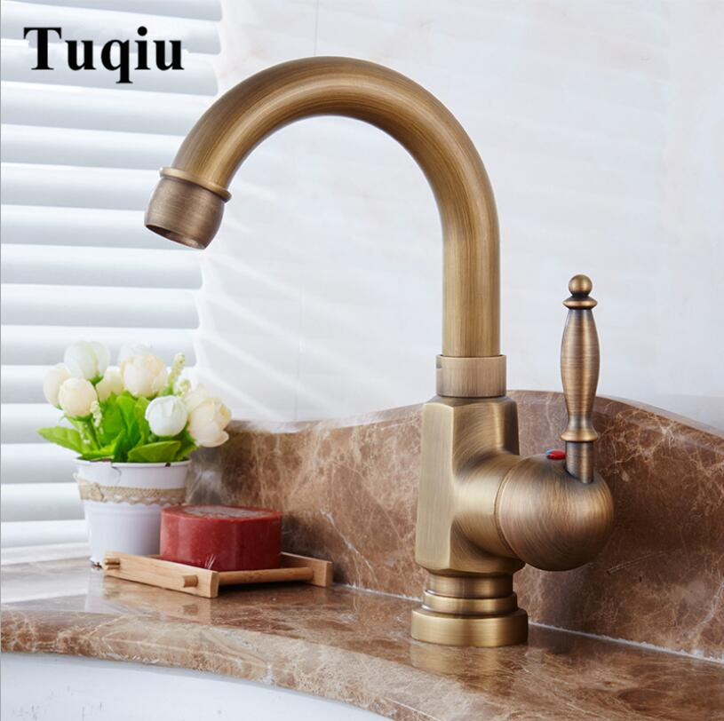 все цены на New Arrivals Fashion Antique Bronze Basin Faucet Solid Brass Wash Basin tap Bathroom Faucet Single Handle Sink Faucet water tap