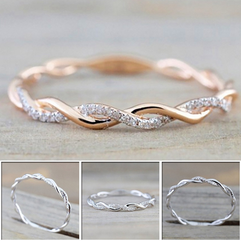 1PC Rose GoldSilver Color Twist Classical Wedding Engagement Ring For Woman Girls Crystal Gift Rings