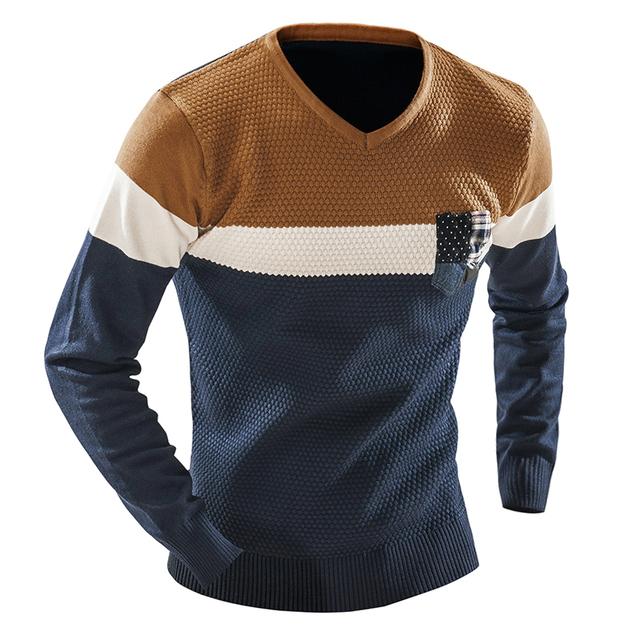 Hombres Suéter Con Cuello En V Hombres Suéter de Manga Larga Suéteres Básicos Ocasionales Marca Vestido de Punto patchwork sweaters hombre Homme Tirón W0