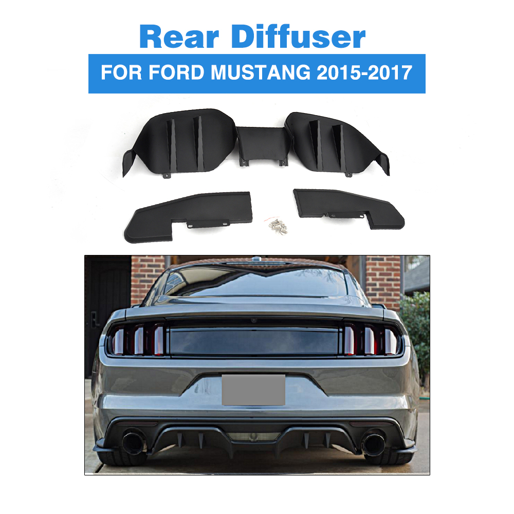 Car Styling PP Car Rear Bumper Diffuser Lip Spoiler For Ford Mustang Coupe 2015-2017