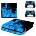 Винил Синий Лед Пламя Pattern Полный Наклейки Защитная Крышка Стикера Кожи Наклейка для Sony PS4 Консоли Контроллера Dualshock