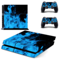 Vinyl Blue Ice Flame Pattern Full Sticker Protective Skin Sticker Cover Decal Set for Sony PS4 Console Dualshock Controllers