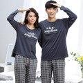 Licorne Amantes manga longa pijamas dos homens & mulheres sleepwear pijama Quente 100% Algodão Lazer Início roupas soltas casal pijama definido