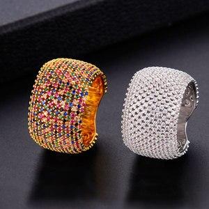 Image 1 - Godki 高級キュービックジルコニアの結婚指輪ブライダル婚約ウェディングジュエリー cz femmale アクセサリー全体指リング