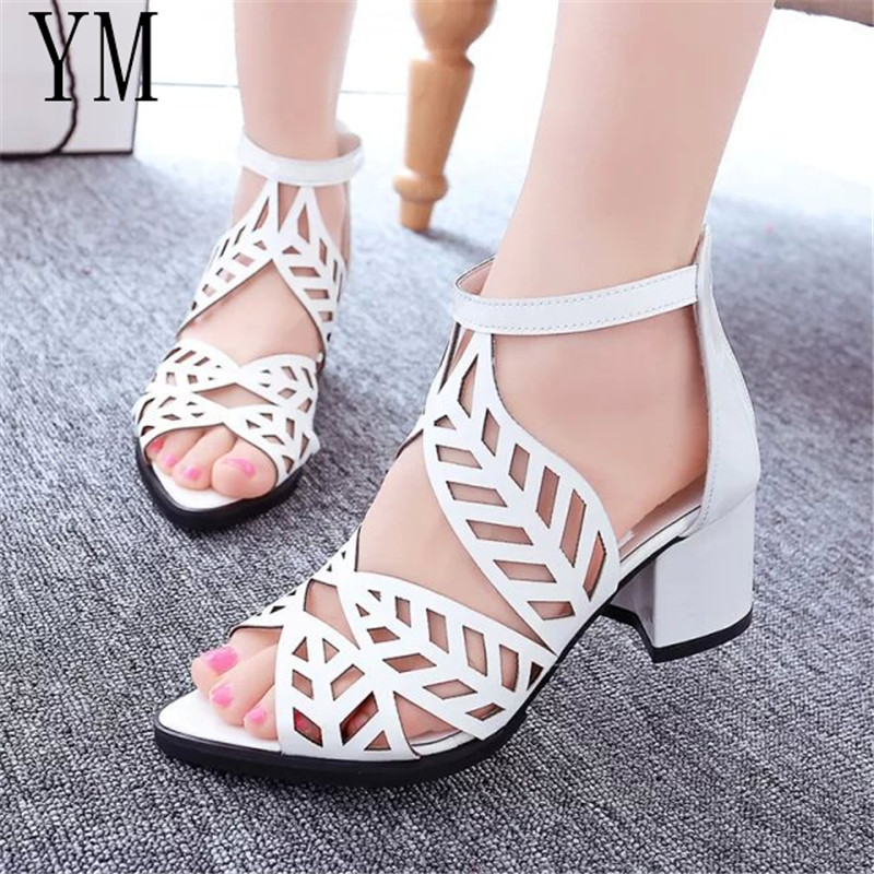 Women Sandals Fashion Elegant Party Shoes Zip Mid Square Cover Heel Crystal Platform Summer Sandals Women High Sequined Shoes