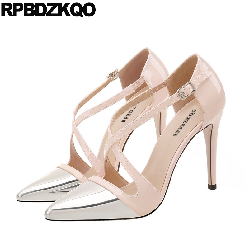 Multi Colored 12 44 Cross Strap Pumps Thin Pointed Toe Shoes Silver High Heels Sandals 3 Inch Patent Leather Ladies Big SizeMulti Colored 12 44 Cross Strap Pumps Thin Pointed Toe Shoes Silver High Heels Sandals 3 Inch Patent Leather Ladies Big Size